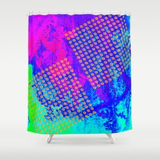 Polka dots on vibrant abstract background Shower Curtain