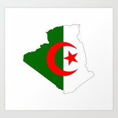 algeria flag map Art Print