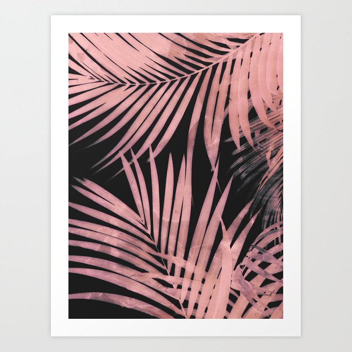 Delicate Jungle with Pink and Black Art Print by cafelab