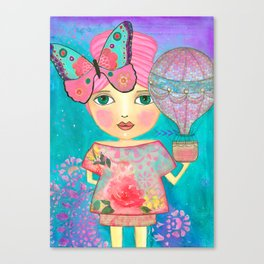 Be Free Mixed Media Whimsical Girl Canvas Print
