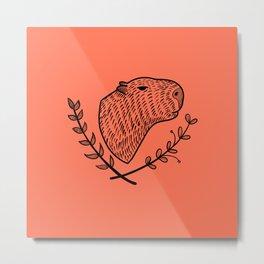 Cute Capybara folk style Metal Print