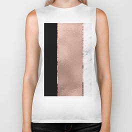 Rose metallic striping - marble and onyx Biker Tank