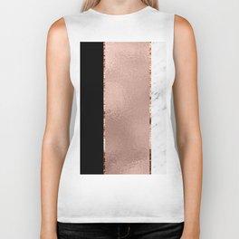 Rose metallic striping - marble and onyx Biker Tank
