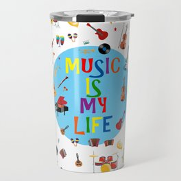 Music is my life (White) Travel Mug