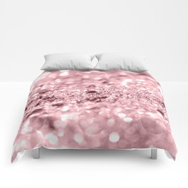 Rose Gold Blush Girls Glitter #1 #shiny #decor #art #society6 Comforters