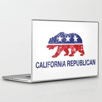 political Laptop & iPad Skins featuring California Political Republican Bear Distressed by Republican