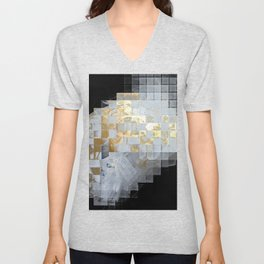 Squares in Gold and Silver Unisex V-Neck