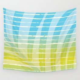 Palm Leaf Shadow on Tropical Striped Screen Wall Tapestry