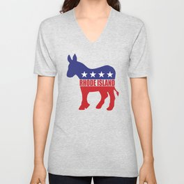 Rhode Island Democrat Donkey Unisex V-Neck