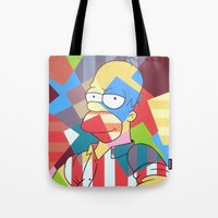 simpson Tote Bags featuring Homer Simpson by iankingart