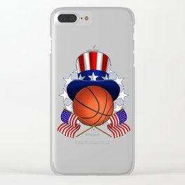American Basketball on 4th Of July Clear iPhone Case