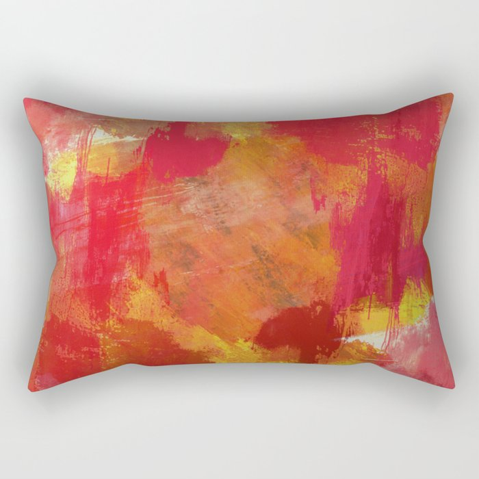 Fight Fire With Fire - Textured Metallic Abstract in red, white, black, orange and yellow Rectangular Pillow