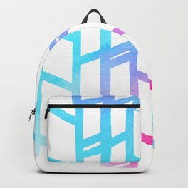 Geometric pink teal watercolor abstract gradient pattern Backpack