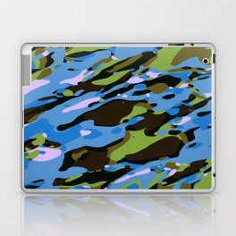 green blue and brown camouflage graffiti painting abstract background Laptop & iPad Skin
