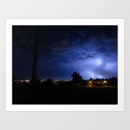 lightening over resevoir hill Art Print