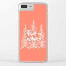 Prone to Wander - Coral Clear iPhone Case