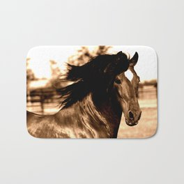 Horse print horse photography equestrian art sepia Poster Bath Mat