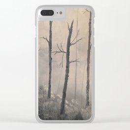 Misty Forest - Birch trees Clear iPhone Case