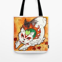 okami Tote Bags featuring Amaterasu from Okami 03 by Jazmine Phillips