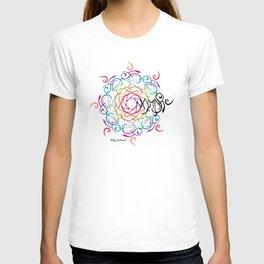 Namaste Mandala - Multicolored with Black Namaste T-shirt