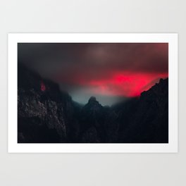 Burning clouds, fog and mountains Art Print