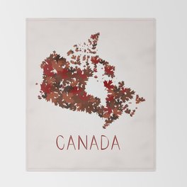 Maple Leafs Map of Canada Throw Blanket