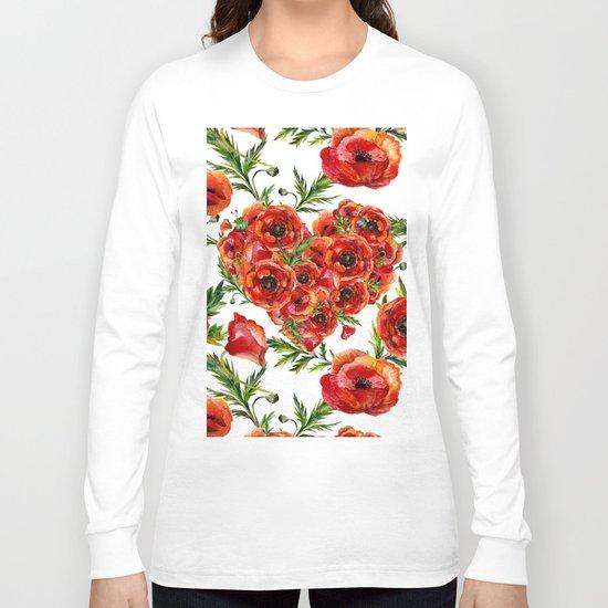 Poppy Heart pattern Long Sleeve T-shirt