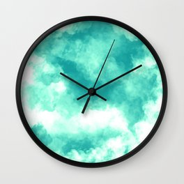 Teal Clouds Wall Clock
