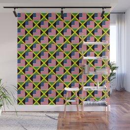 Mix of flag: Usa and jamaica Wall Mural