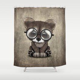 Cute Nerdy Raccoon Wearing Glasses Shower Curtain