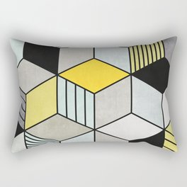 Colorful Concrete Cubes 2 - Yellow, Blue, Grey Rectangular Pillow