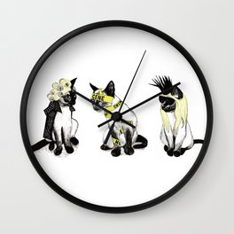 Yellow Cats Wall Clock