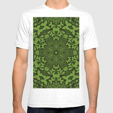 Butterfly kaleidoscope in green MEDIUM Mens Fitted Tee White