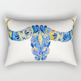 Water Buffalo Skull – Navy & Yellow Rectangular Pillow