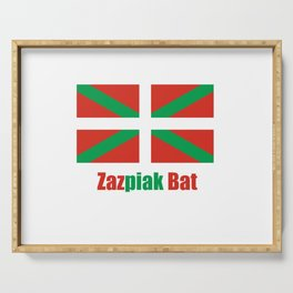 Flag of Euskal Herria 6 -Basque,Pays basque,Vasconia,pais vasco,Bayonne,Dax,Navarre,Bilbao,Pelote,sp Serving Tray