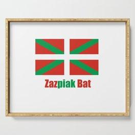 Flag of Euskal Herria 6 -Basque,Pays basque,Vasconia,pais vasco,Bayonne,Dax,Navarre,Bilbao,Pelote,sp Serving Tray