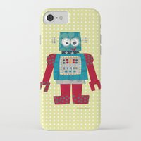 50s iPhone & iPod Cases featuring whirr 50s retro robot by blossyfloss