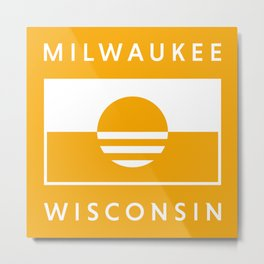 Milwaukee Wisconsin - Gold - People's Flag of Milwaukee Metal Print