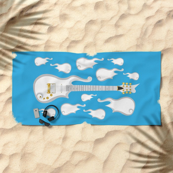The Emoji-fication of His Purple Majesty: Cloud Guitar Beach Towel