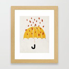 Umbrella, Autumn, Mid century modern kids wall art, Nursery room Framed Art Print
