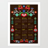 calender Art Prints featuring Folklore Calender 2012 by Darling Planet Earth