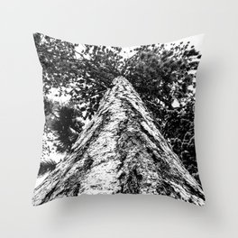 Squirrel View // Climbing Tall Tree Trunks // Winter Landscape Snowy Decor Photography Throw Pillow