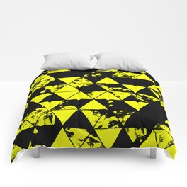 Splatter Triangles In Black And Yellow Comforters