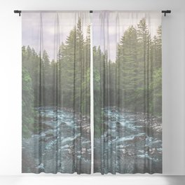 PNW River Run II - Pacific Northwest Nature Photography Sheer Curtain
