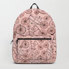 Monochroem Vintage Biycles On Coral Pink Backpack