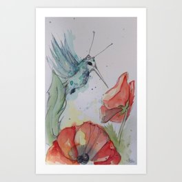 Humming Bird with antenna Art Print