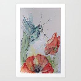 Humming Bird with antenna Art Print