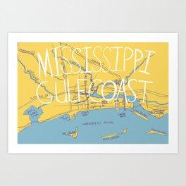 Mississippi Gulf Coast Map Art Print