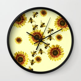 Yellow Sunflowers and Honey Bees Summer Pattern Wall Clock