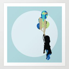 Little Girl With Balloons Art Print